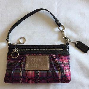 Coach Purple Black Pink Large Wristlet